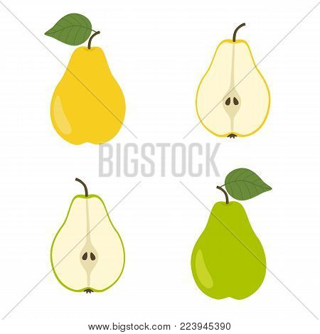 Yellow and green pear. Slice pears. Vector illustration in flat style isolated on white background