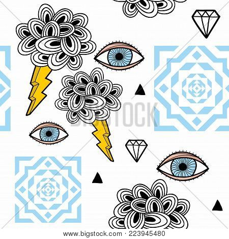 Abstract seamless pattern with eyes in the sky. Endless wallpaper in vector.