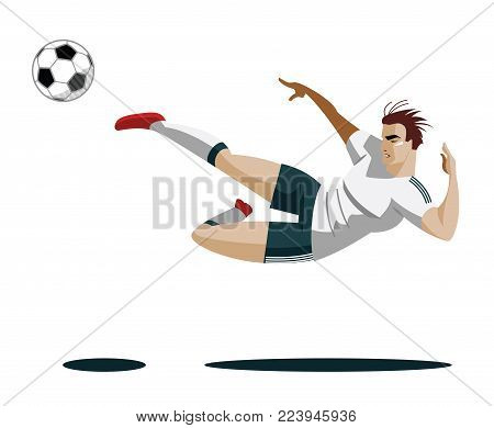 Soccer Player Kicking Ball Vector Illustration Goal shootting