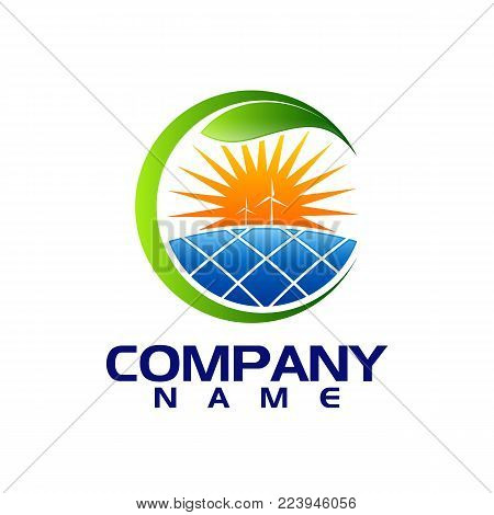 Solar on house and sun logo template. Save Energy green power and natural electricity solar battery. Vector eco concept icon for nature protection. Recycling energy technology for earth green environment conservation