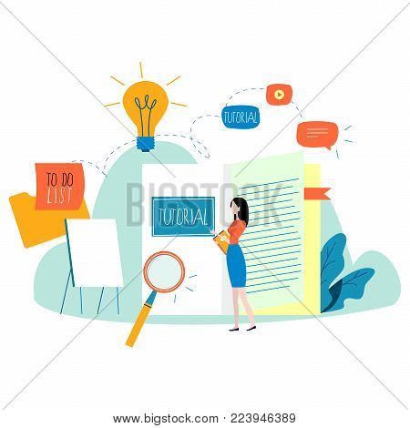 Professional training, education, online tutorial, online business course, business presentation flat vector illustration. Expertise, skill development design for mobile and web graphics