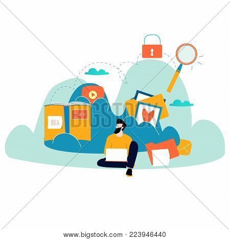 Cloud computing services and technology, data storage flat vector illustration. Network data storage design for mobile and web graphics