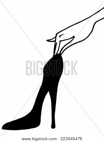 Woman hand is holding a hight heel shoe. Vector illustration. Element for logo design, print, poster, banner, decoration for the shop, lable.