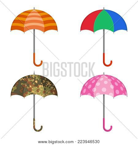 A set of umbrellas on the white isolated background.Beach, multi-colored, darling, camouflage the opened umbrellas.Elements for design. A vector illustration in flat style.