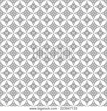 Vector seamless pattern. Abstract small textured background. Regularly repeating modern geometrical texture with small rhombuses, diamonds.