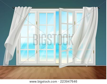 Room with view on sea from open window and fluttering curtains hanging on cornice 3d vector illustration