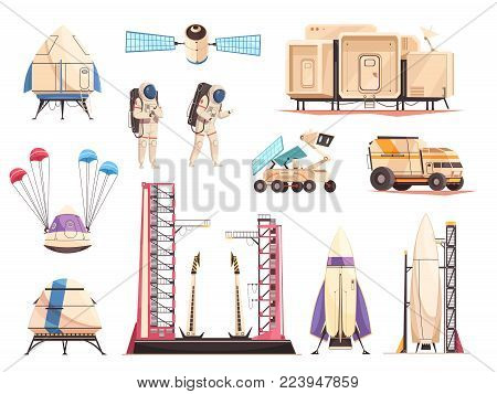 Space research technology cartoon icons collection with spacecraft launch moon rover astronauts and satellite isolated vector illustration
