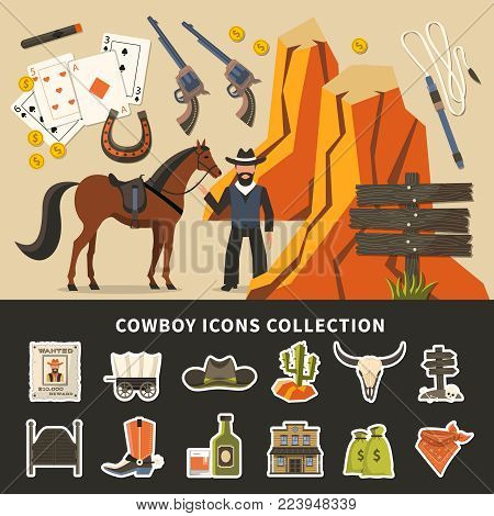 Cowboy icons collection with prairie elements, wanted poster, horse, alcohol, money, signpost, saloon doors isolated vector illustration