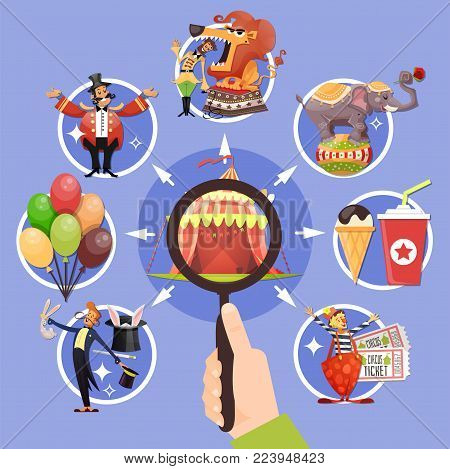 Circus cartoon colored concept with little circles icon set and with magnifier in hands vector illustration