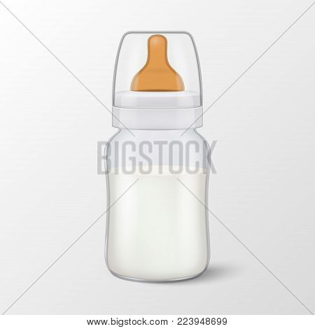 Vector realistic blank baby mother breast milk in baby milk bottle with cap icon closeup isolated on white background. Sterile milk container design template, mockup for graphics.