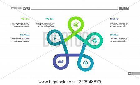 Five points process chart slide template. Business data. Improvement, stage, design. Creative concept for infographic, presentation, report. For topics like management, consulting, training.