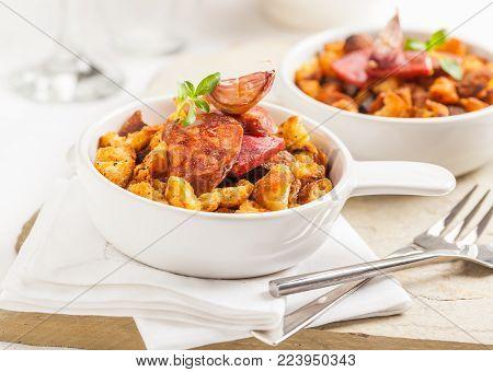 Spanish migas dish made with chorizo, garlic and bread crumbs