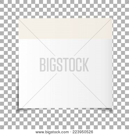 Office white paper sticky note isolated on transparent background. Post on sticky tape. Template for your projects. Vector illustration