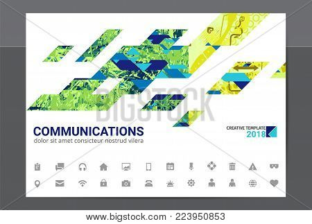Stylish modern design graphic template, business composition with diagonal shapes and inforgaphics elements