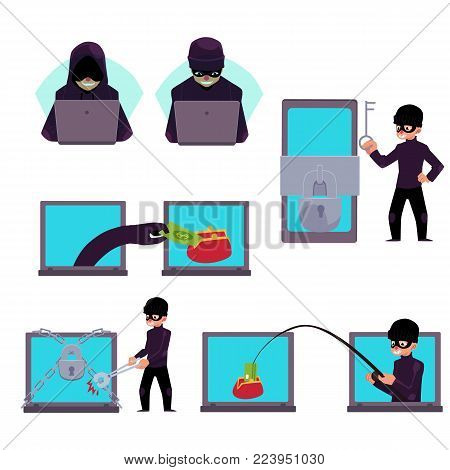 Hacker working on laptop, stealing money, credit card information, fishing, breaking PIN code, cartoon vector illustration isolated on white background. Computer hacker stealing money, breaking code