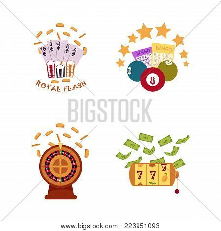 vector flat casino symbols icon set. Gambling roulette wheel with gold coin, triple seven jackpot, slot mashine with dollar rain, bingo lottery tickets, balls, royal flush. Isolated illustration
