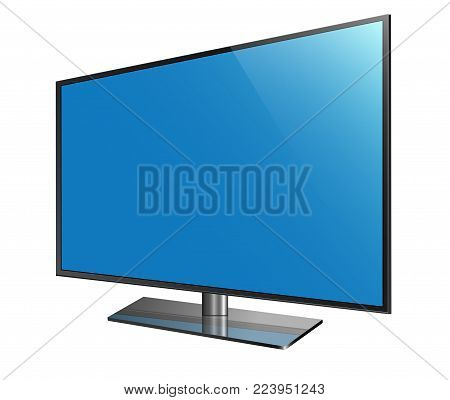 Curved tv. 4k Ultra HD screen, led television isolated white background - stock vector.