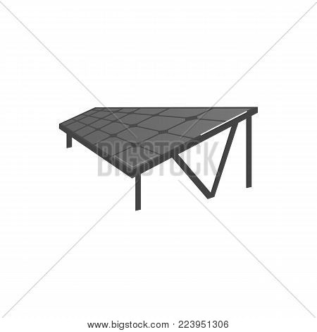Solar panel on stands, renewable energy source, flat vector illustration isolated on white background. Flat style picture of solar panel, photovoltaic module for electricity production