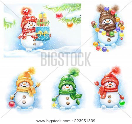Collection of watercolor snowmen in mittens and hats isolation on white background. New Year elements for cards, banners, greeting card, invitations