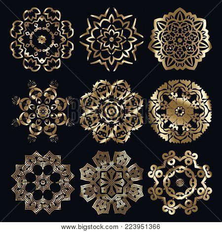 Golden ancient muslim motif radial ornament elements