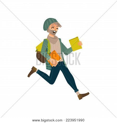 Vector cartoon young male teen student jumping. Happy man in modern casual clothing, jeans, cap holding books backpack having fun. University college character. Isolated illustration, white background