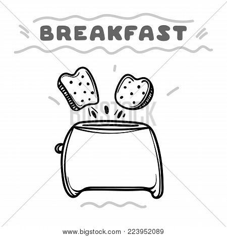 Cartoon toaster with toasts. Hand drawn illustration. Breakfast concept.