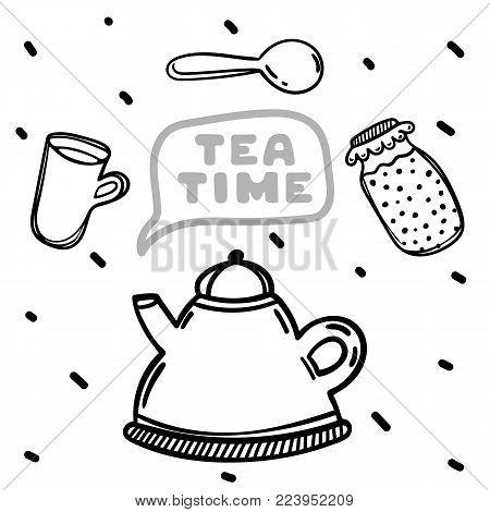 Cartoon teapot and jam on white background. Hand drawn illustration. Tea time.