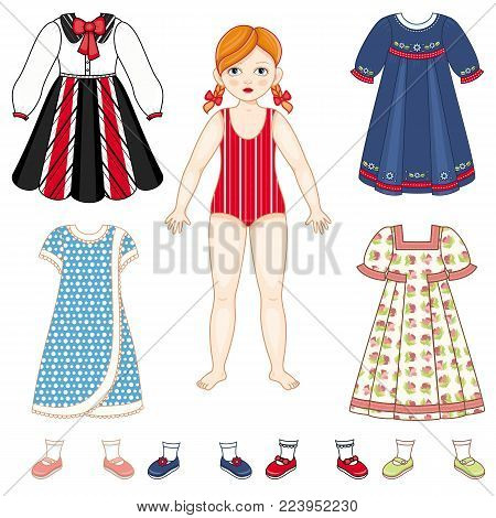 Paper doll set - little girl with pigtails in swimsuit and collection of dresses and shoes, cartoon vector illustration isolated on white background. Paper doll and a set of clothes