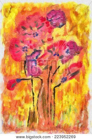 Gouache painting poppies digitally enhanced in yellow, orange and red color for background use