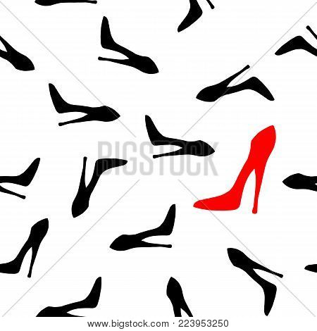 Be Different Concept. Woman Hight Heel Shoe Seamless Pattern. Vector Illustration. Element For Print