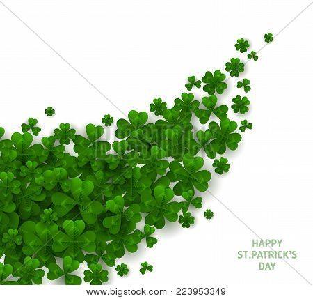 Saint Patrick's Day Diagonal Border with Green Four and Tree Leaf Clovers on White Background. Vector illustration. Party Invitation Design, Typographic Template. Lucky and success symbols