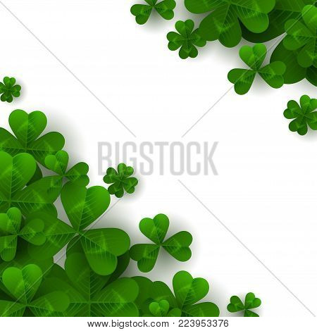 Saint Patrick's Day Corner Decoration with Green Four and Tree Leaf Clovers on White Background. Vector illustration. Party Invitation Design, Typographic Template. Lucky and success symbols