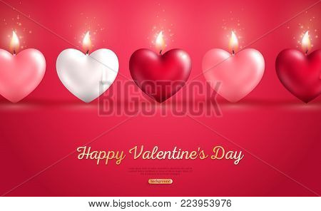 Valentine's day concept, heart shape candles set on red background. Vector illustration. Beloved symbol. Burning Flame. White, red and pink hearts in a row