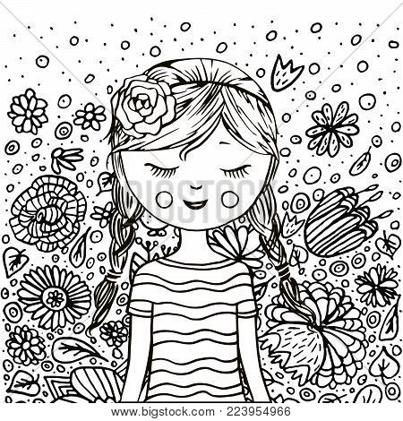 Cute Girl In Flowers. Coloring Book Page. Black And White. Doodle Style. Kawaii