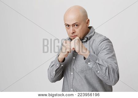 Fierce and confident stylish european bald bearded male model in gray shirt holding fists in front of him as if ready for fight or any challenge, pursuing lips, having determined expression on his face