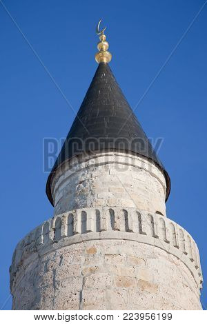 Big Minaret Complex a in ruins of Bolgar ancient city on Volga river, archaeological site near Kazan, Tatarstan, Russia