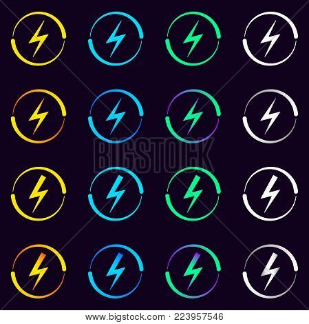 Collection of Electrical Signs. Vector Illustration of Electric Energy Symbol in Different Colors and Gradients. Current Circulation.