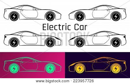 Vector Illustration of Electric Car. Silhouette of Sport Car with Ecological Electrical Engine. Illustration is Made by Stroke without Fill Inside. Fill is Background Color