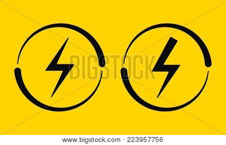 Electrical Signs. Vector Illustration of Electric Energy Symbol in Black and on Yellow Background. Current Circulation.