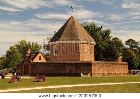 WILLIAMSBURG, VA - OCTOBER 7: Built by Governor Spotswood in 1715, the magazine stored vital military supplies necessary for the protection of the Virginia colony October 7, 2017 in Williamsburg, VA