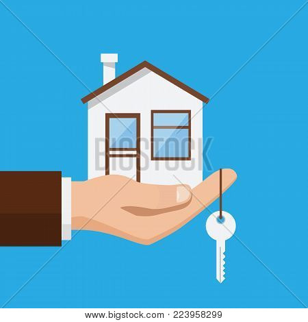 Real estate offer, businessman holding a house and key. Offer of purchase house, rental of Real Estate. Vector illustration flat design