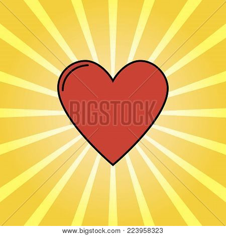 Retro rays and cartoon heart, love background pop art style. Vector illustration. Funny heart comics style
