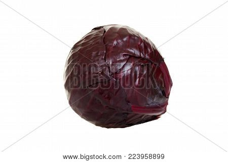 Isolated red cabbage on a white background