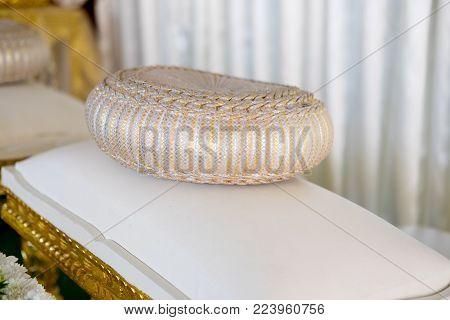 Thai silk pumkin pillow, according to Thai wedding tradition