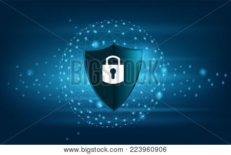 Shield Lock Earth blue security system Vector blue shield Business concept of data protection Blue shield  blue background