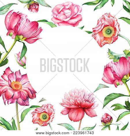 Watercolor floral design, pink and red flowers with green leaves with empty space for text isolated on white background. Useful for greeting, wedding, Valentine's day cards, scrapbook design element.