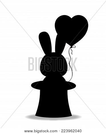 Black silhouette of rabbit with heart shaped balloon in the black magic cylinder hat isolated on white background. Monochrome vector illustration, sign, symbol, icon, clip art for greeting card design
