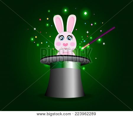 Bunny in magic hat with wand on green sparkling glow background. Cute rabbit sticking out of magician's cylinder top hat. Circus poster, banner, concept with hat and rabbit trick. Vector illustration.