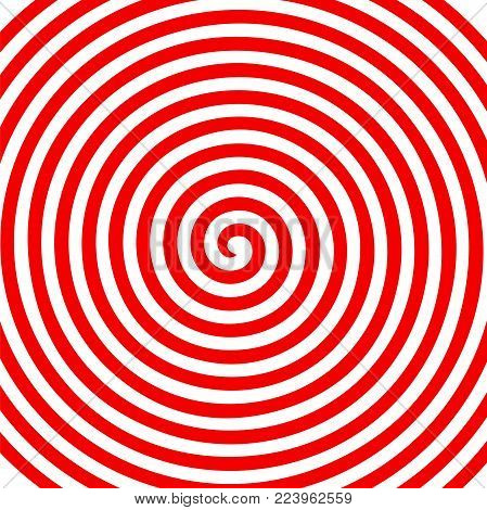 Red white round abstract vortex hypnotic spiral wallpaper. Vector illustration optical illusion spiral anaglyph opt art illustration. Volute, spiral, concentric lines, circular, rotating background.