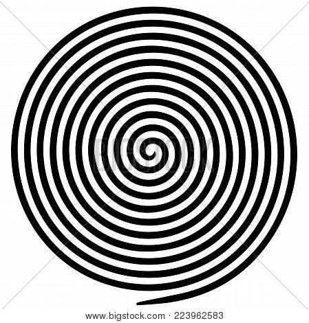 Black white round abstract vortex hypnotic spiral. Vector illustration optical illusion helix anaglyph opt art illustration. Volute, maze, concentric lines, circular, rotating clip art isolated.